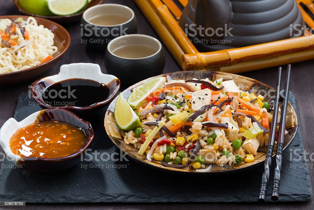 fried rice with tofu and vegetables stock photo