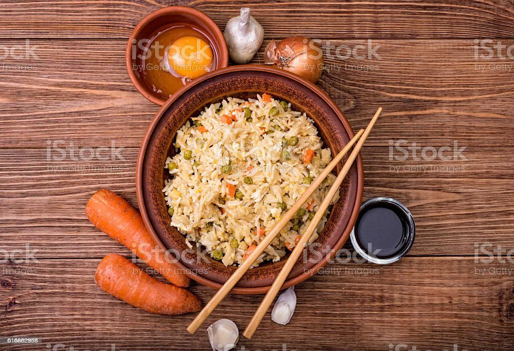 Fried rice with vegetables and eggs. stock photo