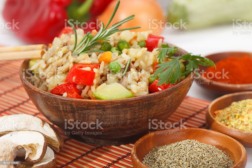 Fried rice with vegetables and herb stock photo
