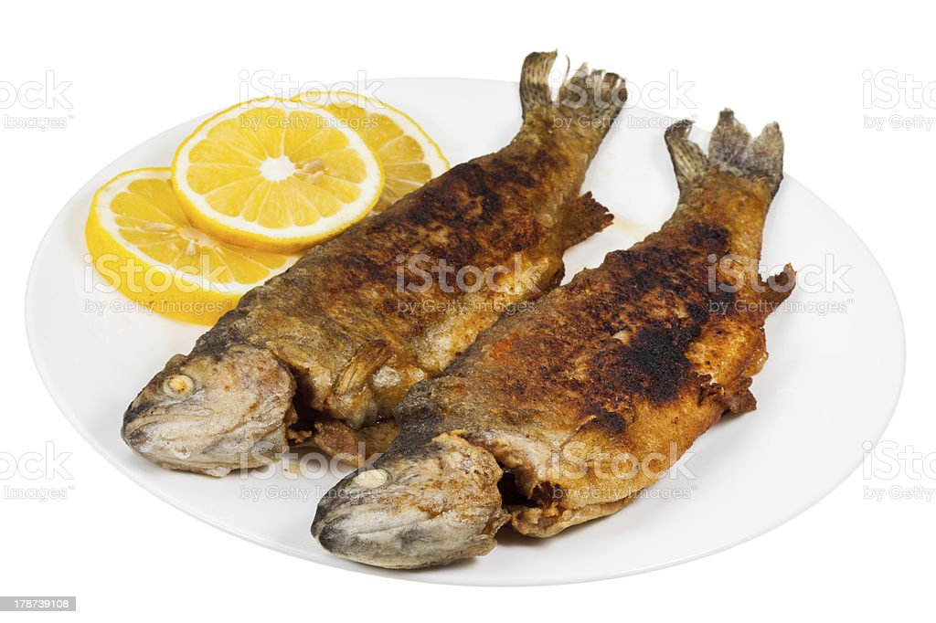 fried river trout fish on plate royalty-free stock photo