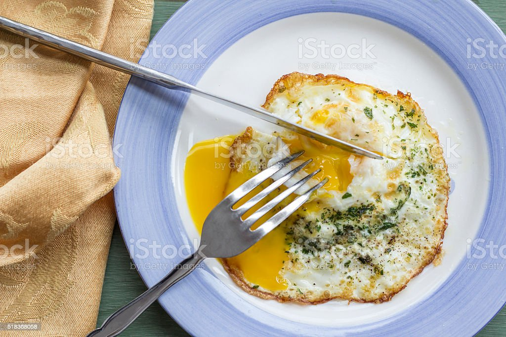 Fried Runny Egg Over Easy stock photo