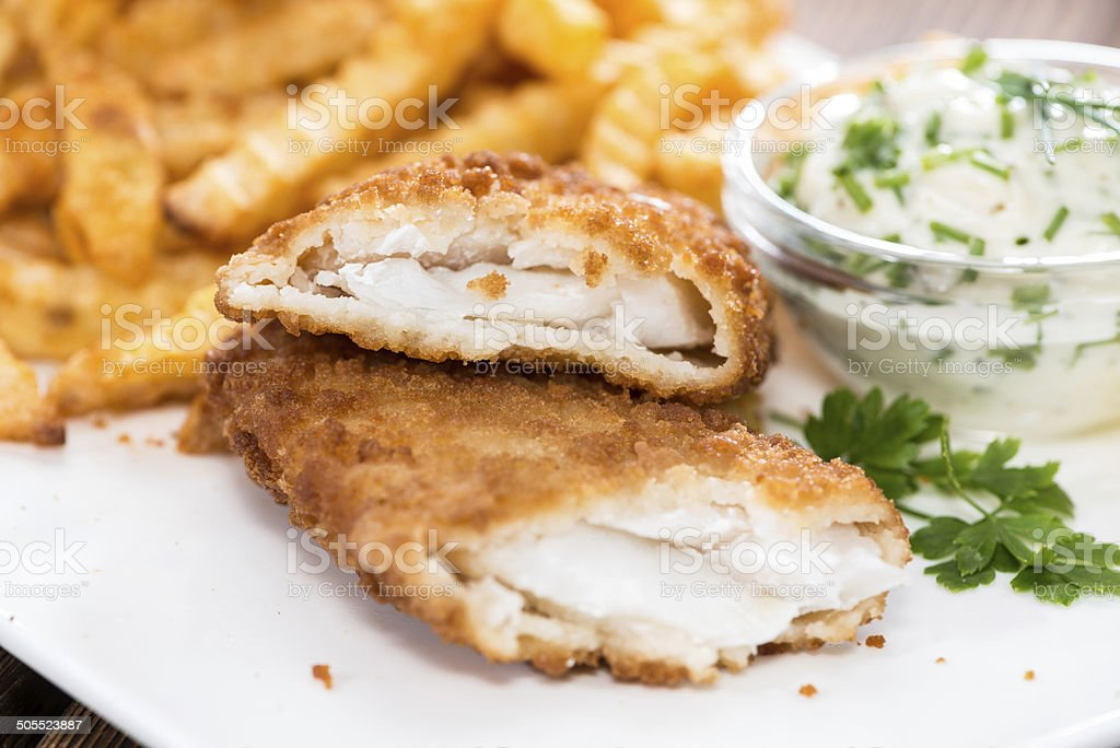 Fried Salmon Filet with Chips stock photo