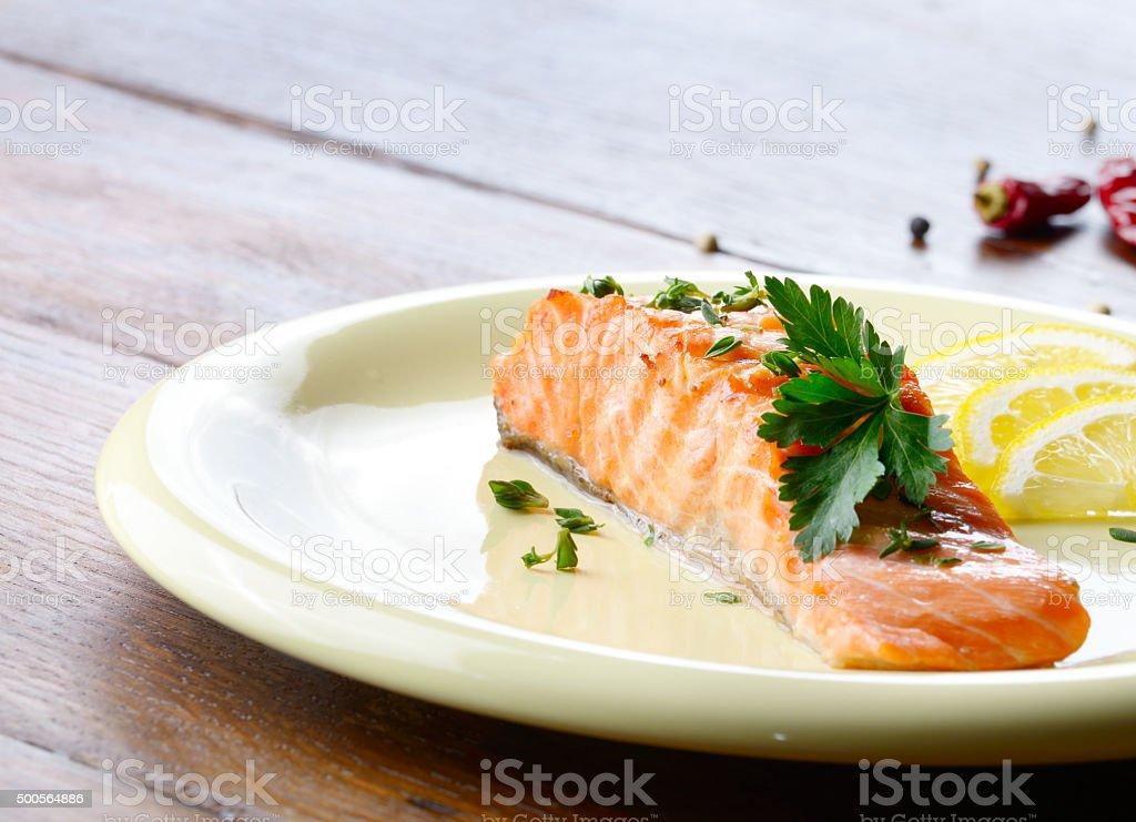 Fried salmon fillet stock photo