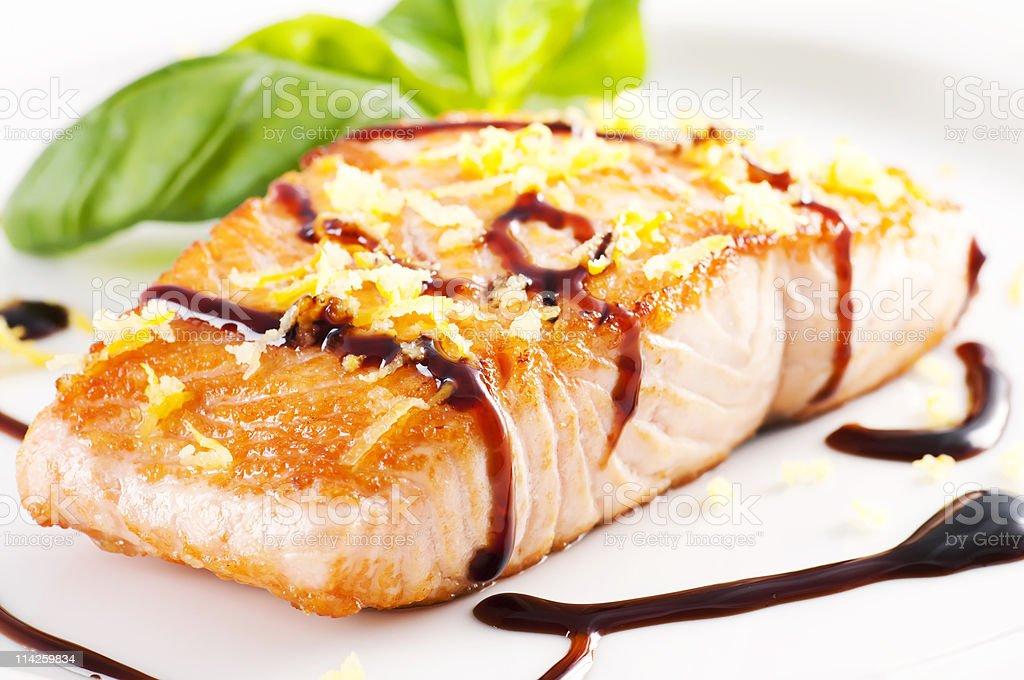Fried salmon royalty-free stock photo