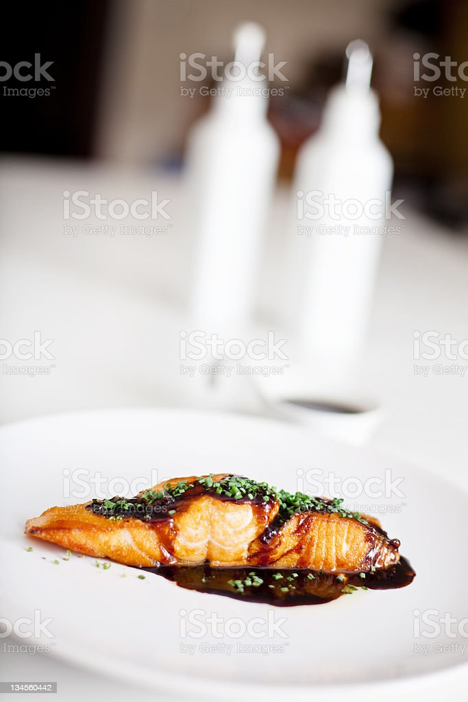 fried salmon royalty-free stock photo