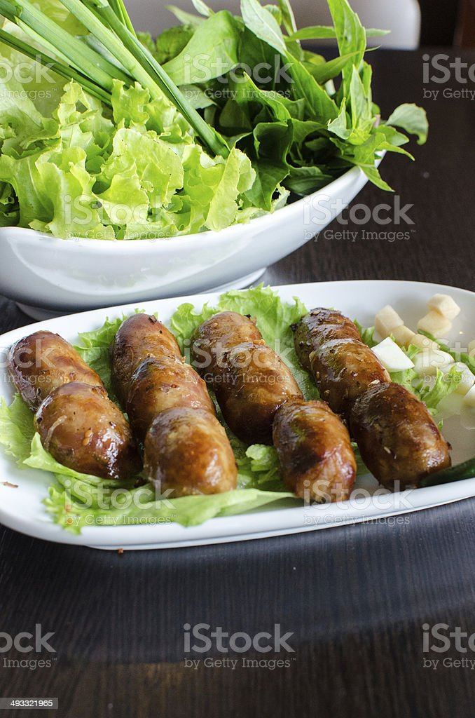 Fried sausage - Vietnamese food royalty-free stock photo