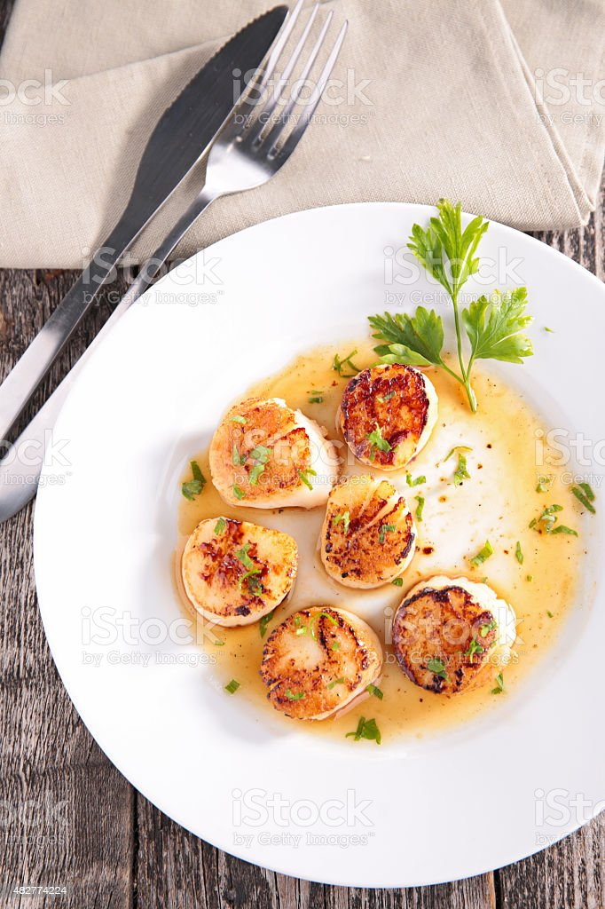fried scallop stock photo