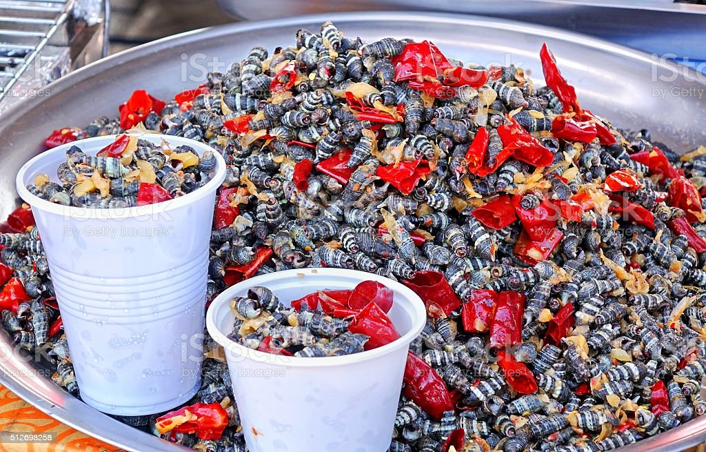 Fried Sea Snails with Chili stock photo