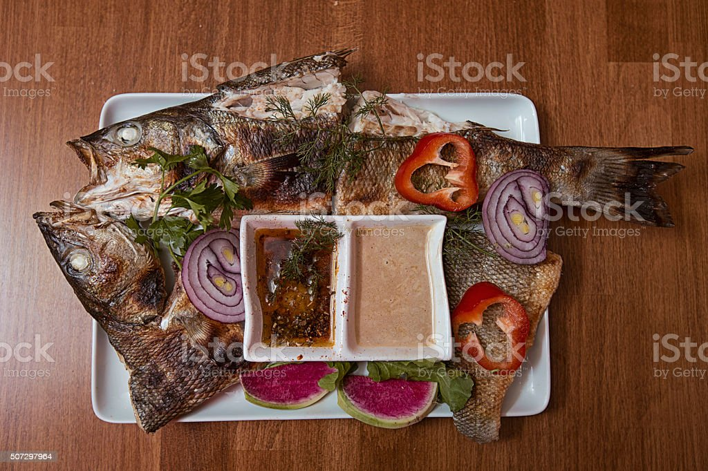 Fried seabass stock photo