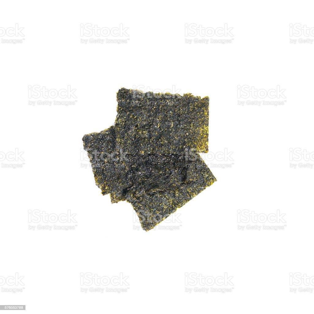 fried seaweed isolated on white background. stock photo