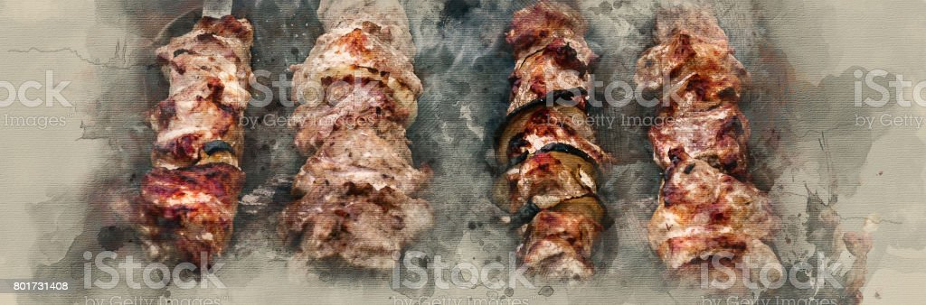 Fried shish kebab stock photo