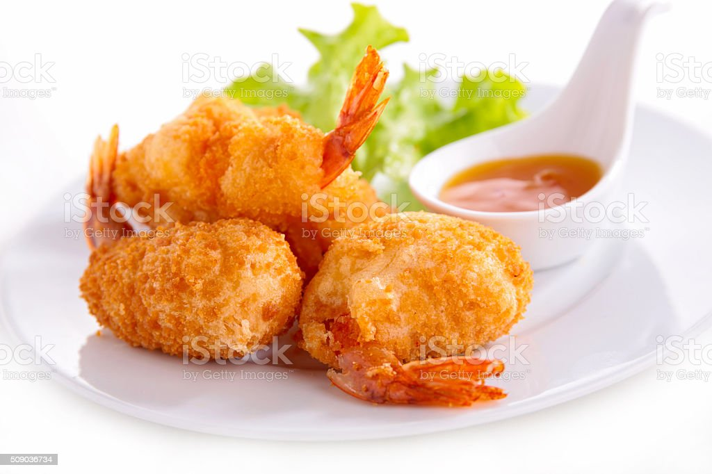 fried shrimp and sauce stock photo