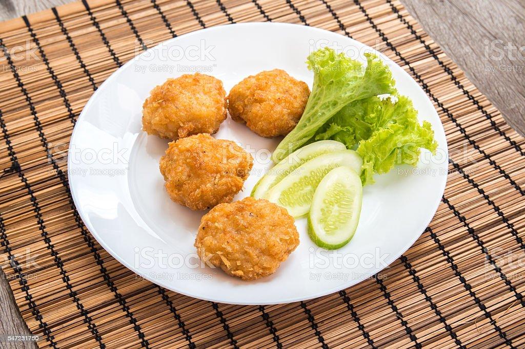 Fried shrimp cake, Thai food stock photo
