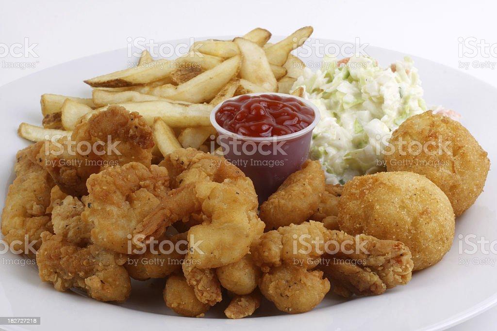 fried shrimp dinner stock photo