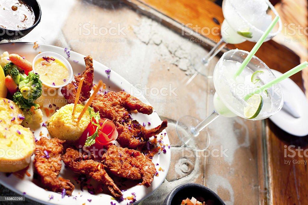 Fried Shrimp Dinner with Margarita stock photo