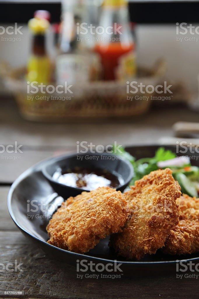 Fried shrimp meat ball thai food stock photo