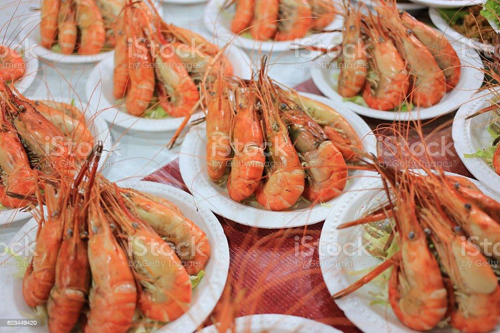 fried shrimp on foam dish stock photo