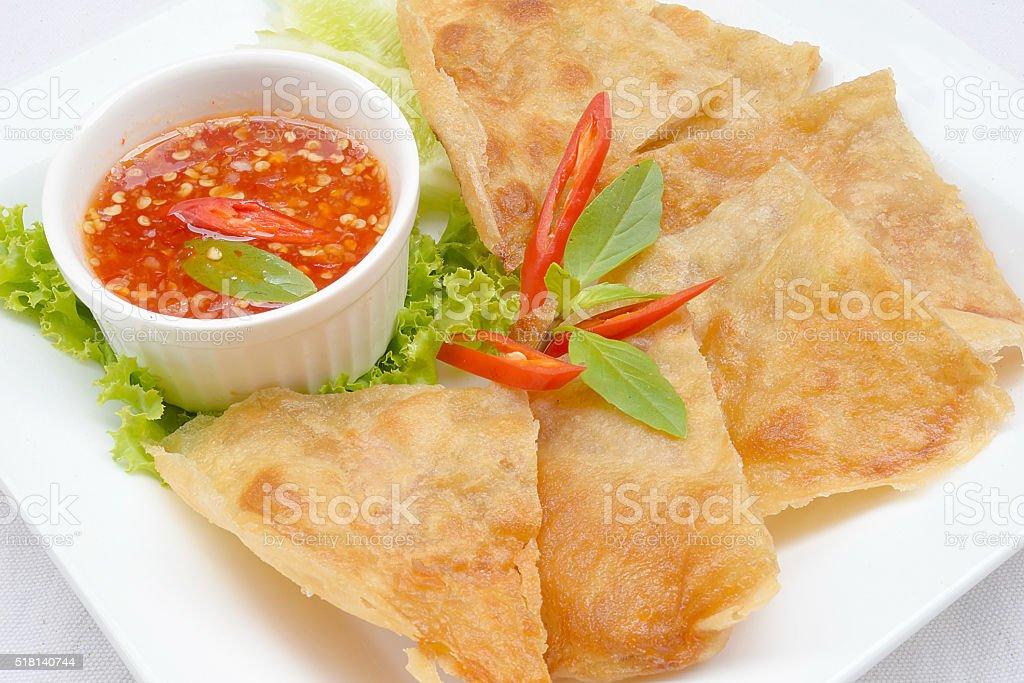 Fried Shrimp tiles in whtie dsih stock photo
