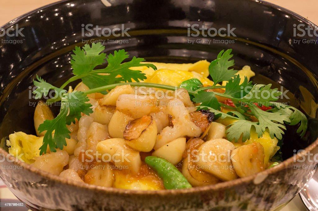 Camarão frito com alho e Chili, comida tailandesa estilo foto royalty-free