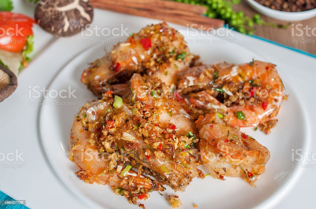 fried shrimp with garlic and pepper menu stock photo
