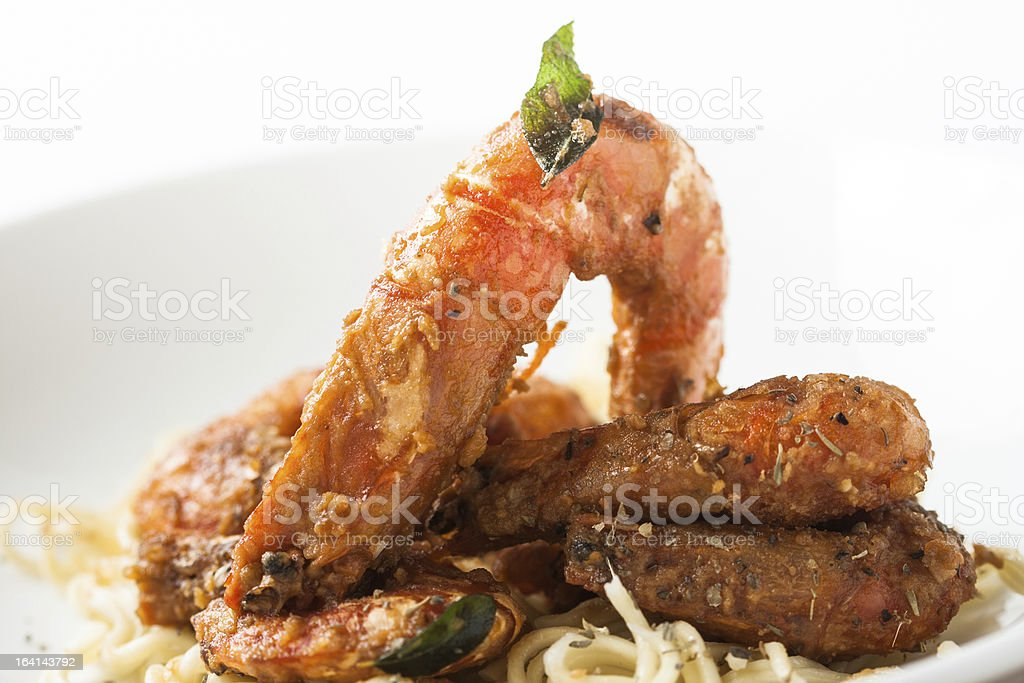 fried shrimp with spices royalty-free stock photo