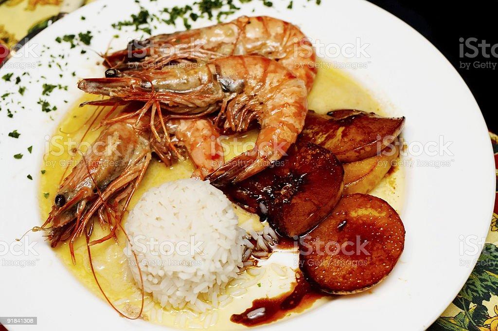 Fried shrimps royalty-free stock photo