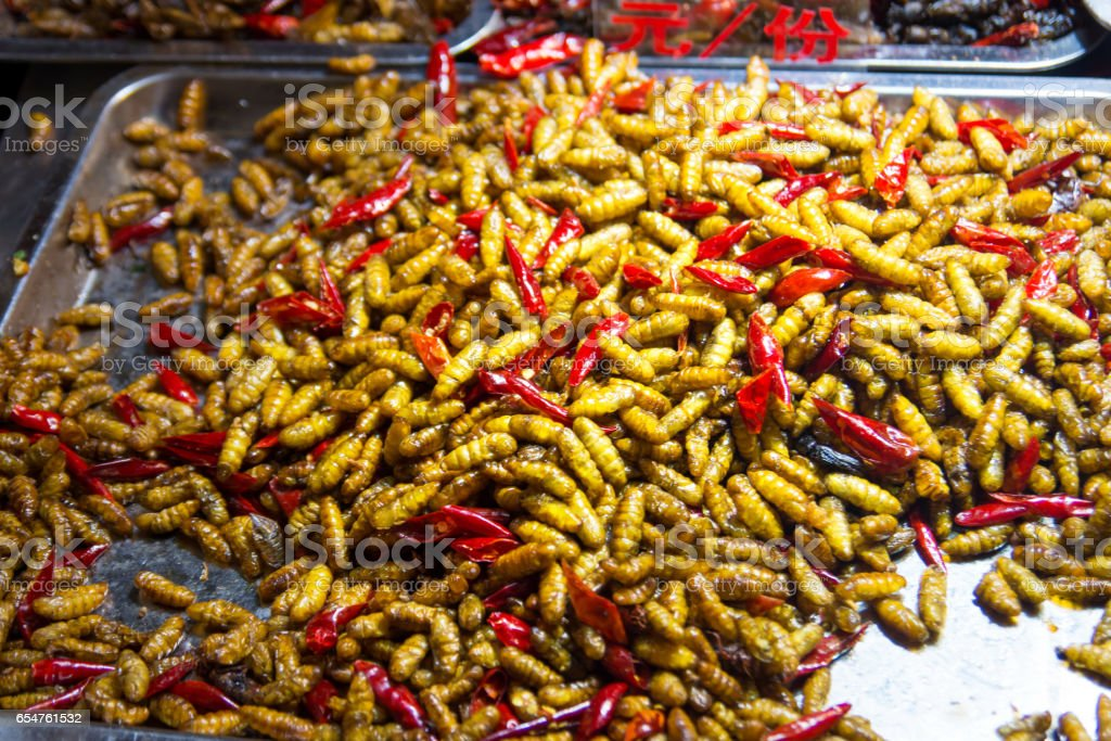 fried silkworm and red pepper stock photo
