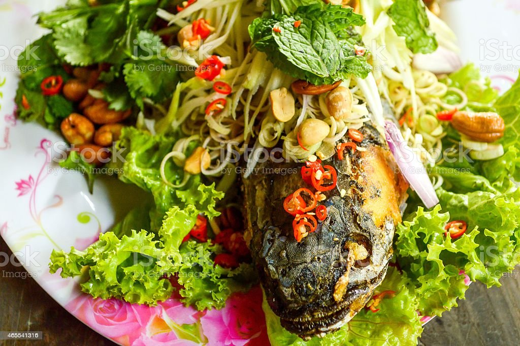Fried Snakehead Fish with Herb stock photo