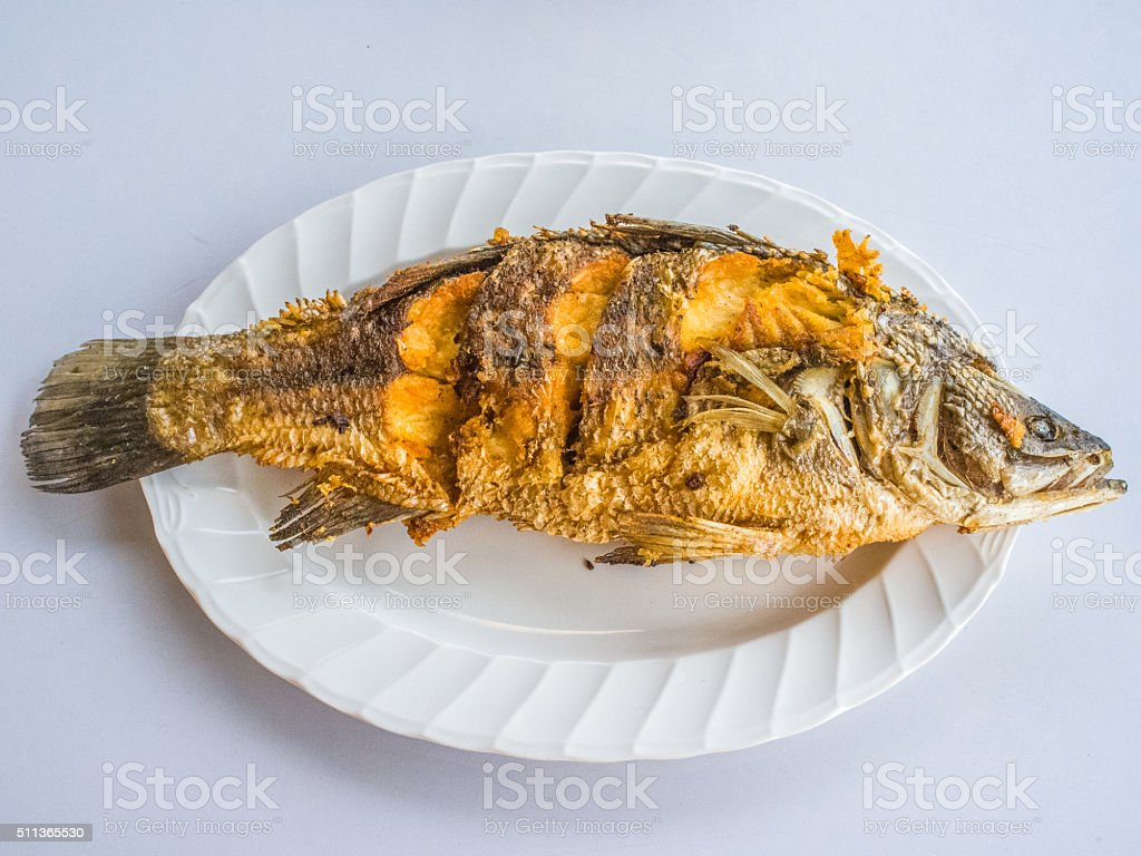 Fried snapper fish on white plate stock photo