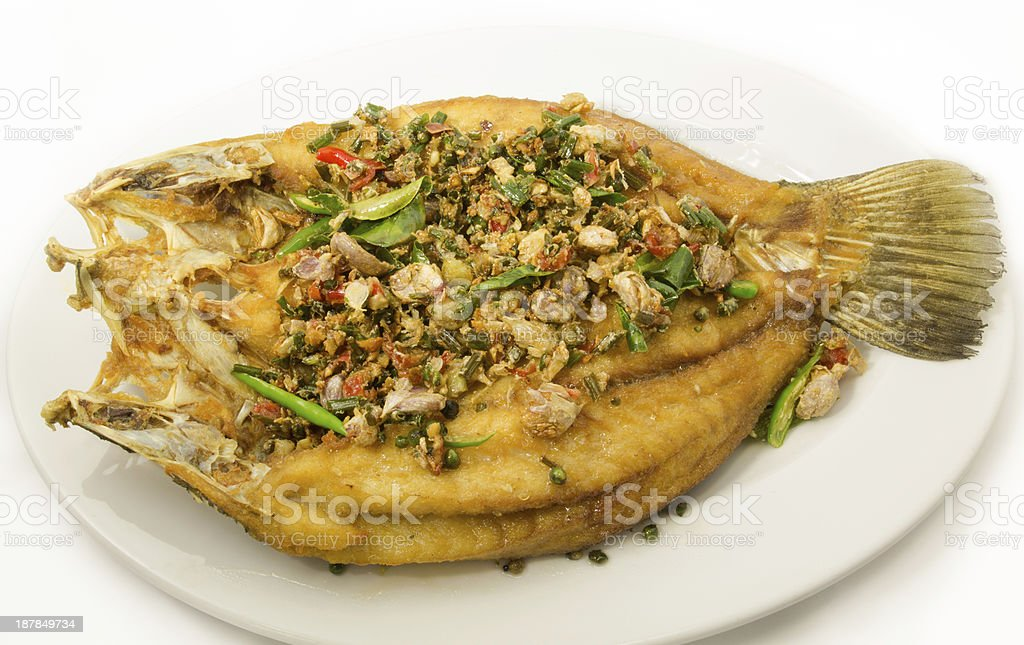 Fried snapper fish stock photo