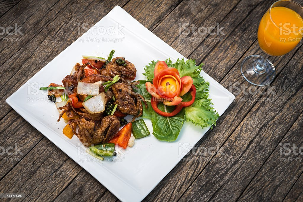 Fried Soft Shell Crab stock photo