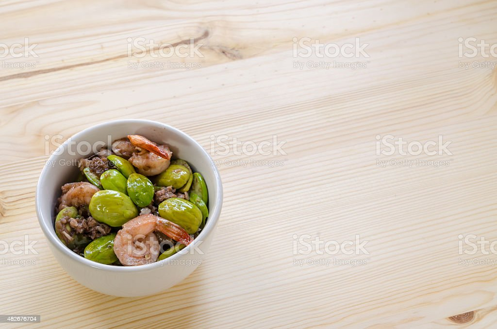 Fried spices shrimp with bitter bean ( Parkia speciosa ) stock photo