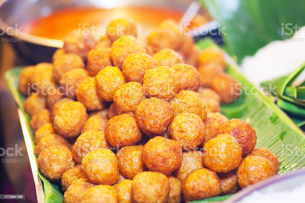 Fried spicy thai rice balls stock photo