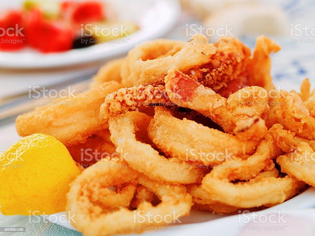 Fried squid stock photo