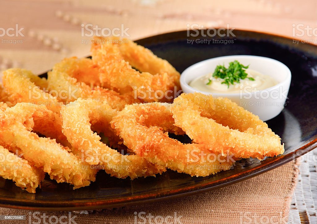 fried squid rings breaded stock photo
