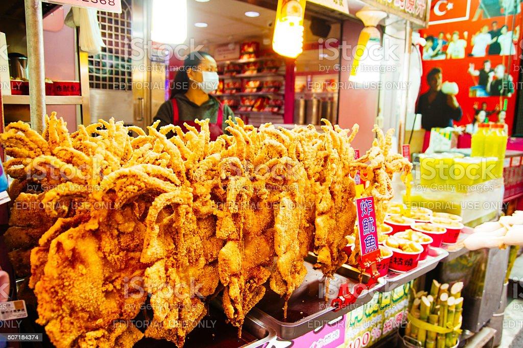 Fried squid vendor Danshui shopping area stock photo