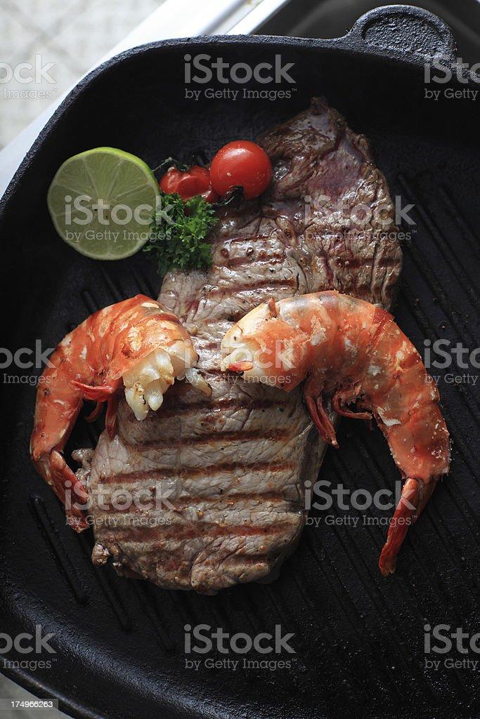 fried steak with prawns stock photo