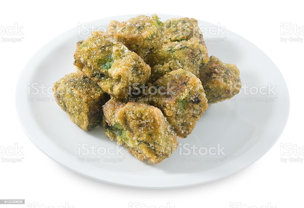 Fried Steamed Dumpling on A White Background stock photo