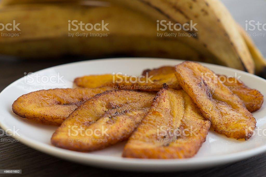 Fried Sweet Plantain / Tajadas / Maduros stock photo