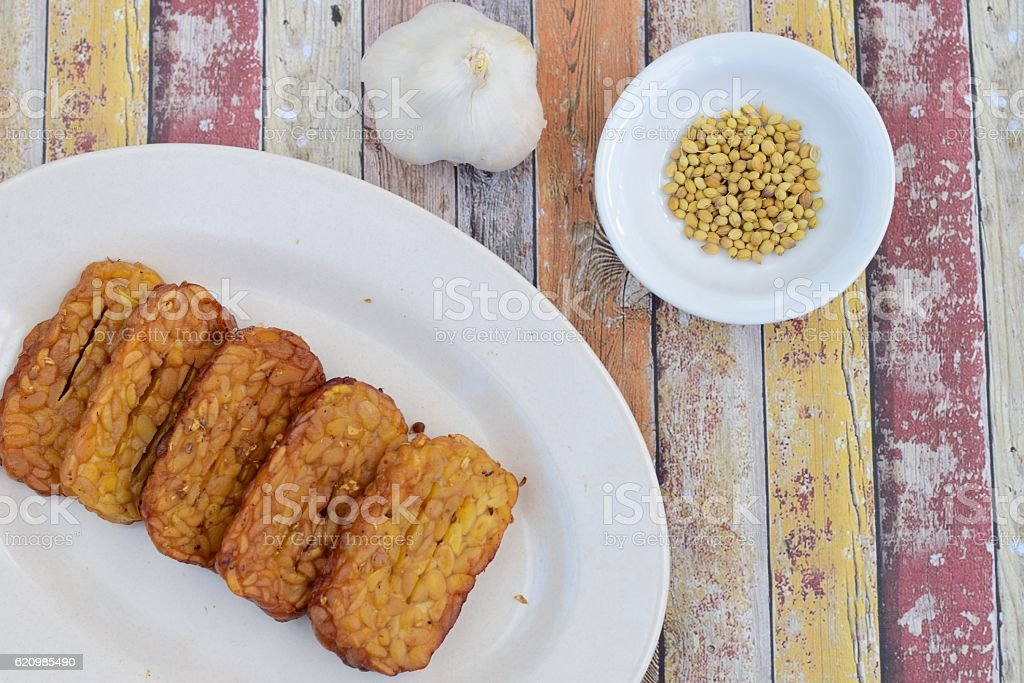 Fried Tempeh stock photo