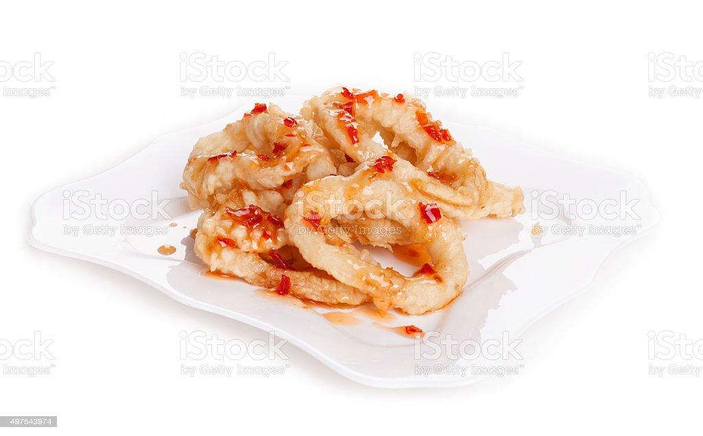 Fried Tempura Squid Ring - Stock image stock photo