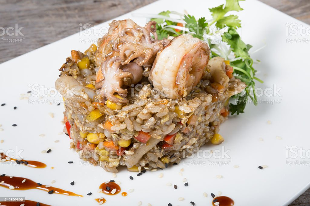 Fried thai rice with seafood stock photo