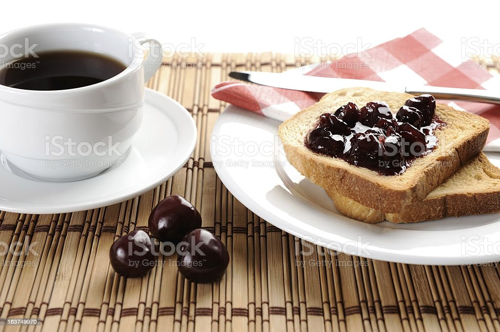 Fried toast bread with cherry jam stock photo