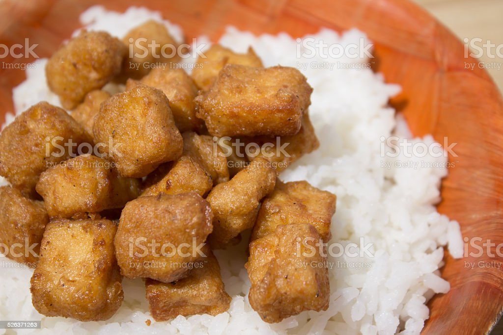 Fried Tofu and Rice 3 stock photo