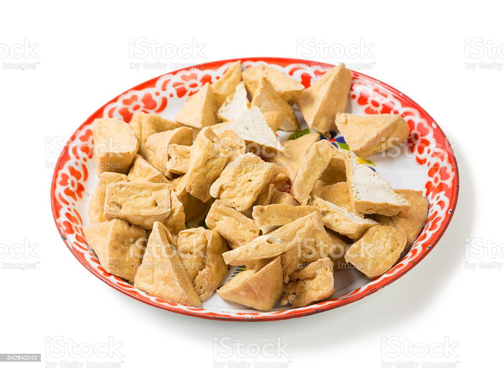 fried tofu or bean curd in tray traditional thai ingredient stock photo