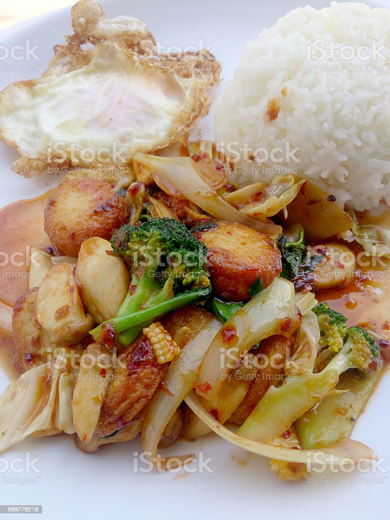 Fried tofu with mixed vegetables , Vegetarian Food, Healthy food. stock photo