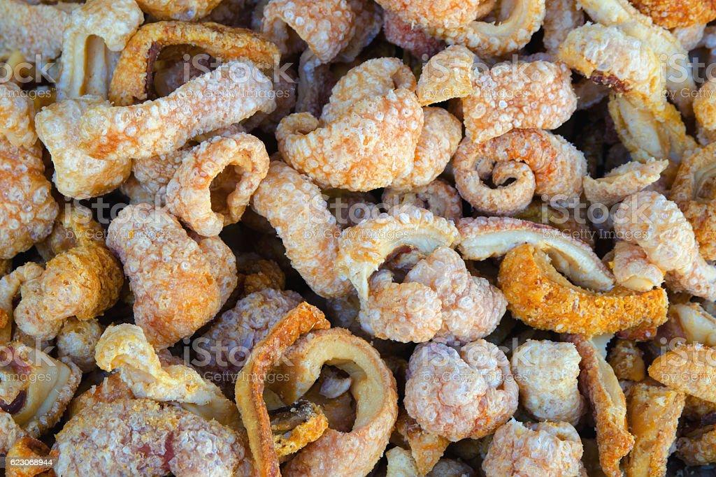 Fried torreznos background stock photo