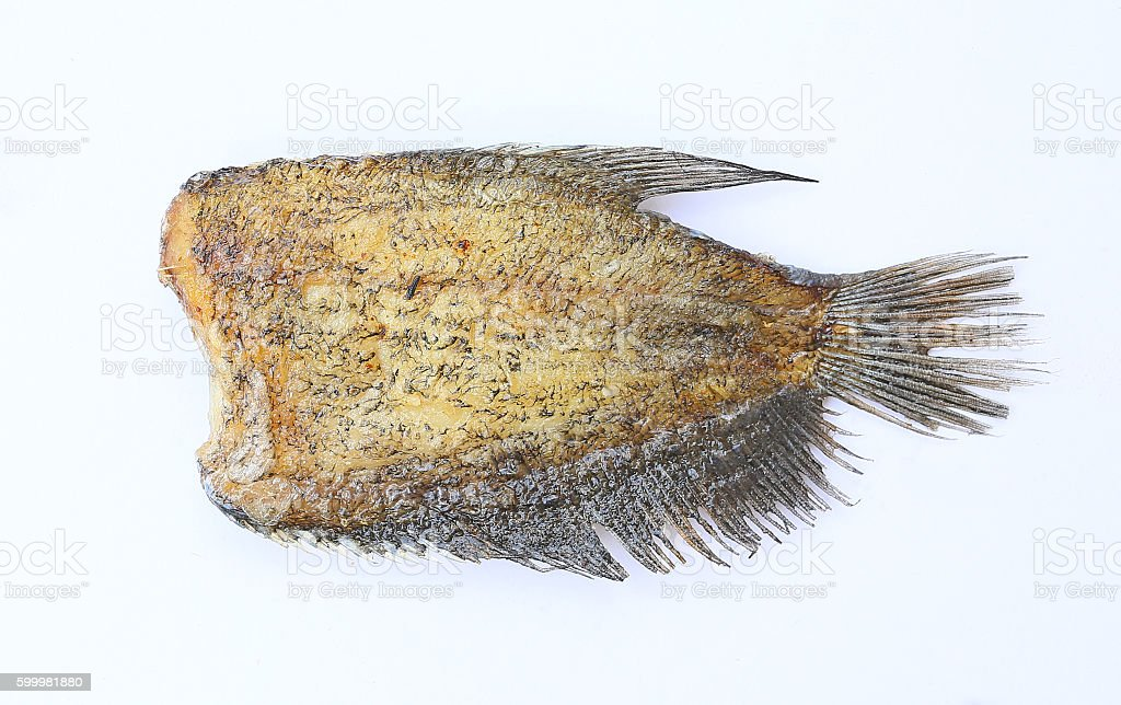 Fried Trichogaster pectoralis, fried salid fish thai food, isolated stock photo
