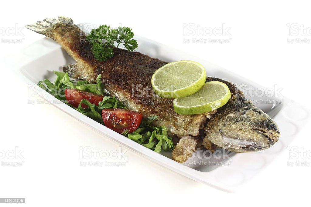 fried trout royalty-free stock photo