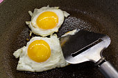 Fried two eggs on frying pan.